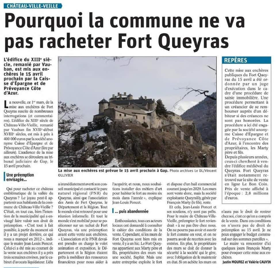 Article DL 04.03.2021 La Commune ne rachetera a priori pas le Fort