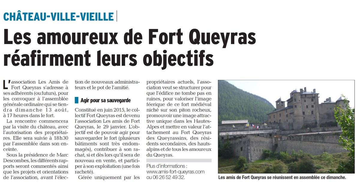 Article DL 11.08.2017 Annonce AG Dauphiné Libéré