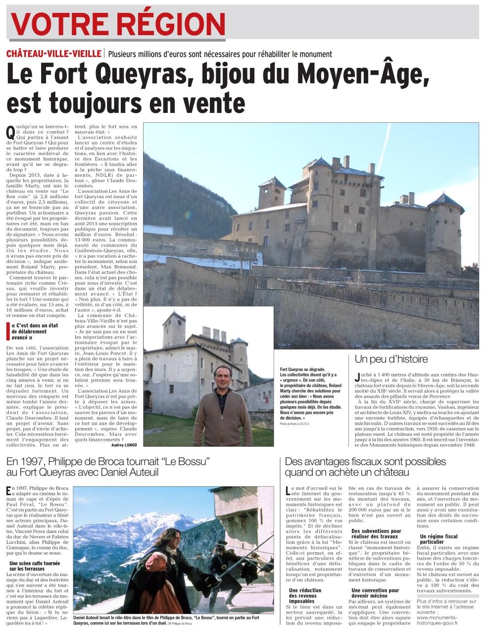 Article DL 30.11.2017 Fort Queyras toujours en vente annonce le AG Dauphiné Libéré