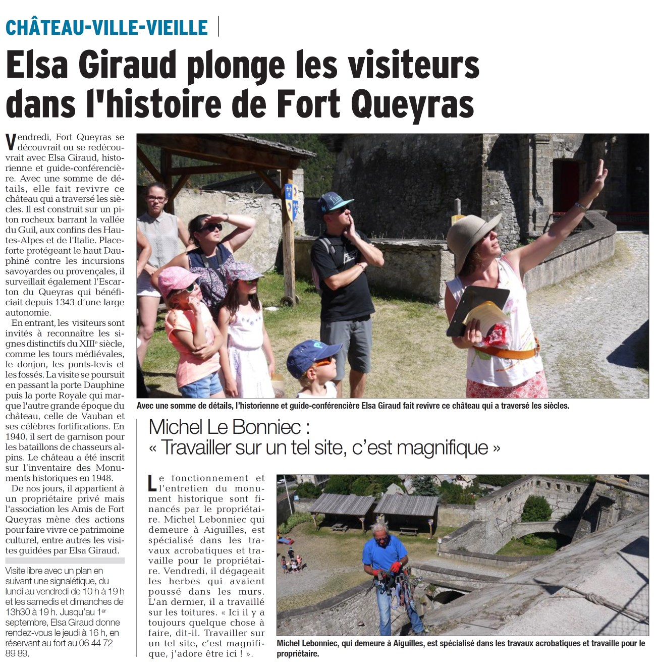 Article DL 31.07.2017 Visite estivale du Fort