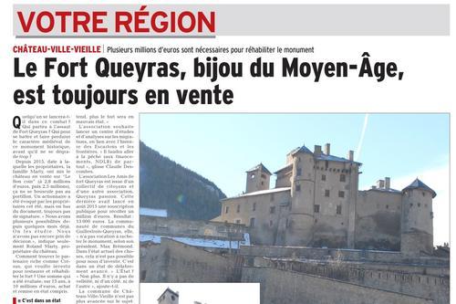 Article du DL du 30 novembre 2017 : Fort Queyras est toujours en vente